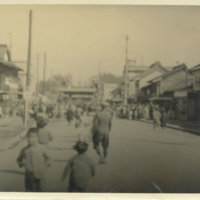 Street scene with Japanese and American soliders, Nikko…