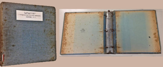 Front cover of binder with label. Inside covers of empty binder
